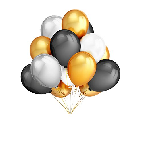 TeePolly 120Pcs 12 Inches Gold & Silver & Black & White Color Latex Balloons Party Decoration Accessories & Party - Wedding And Silver Decor Black