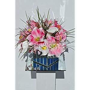 Silk Blooms Ltd Artificial Magneta Pink Amaryllis, Cymbidium Orchid and Calla Lily Floral Arrangment w/Mirrored Cube Vase 17