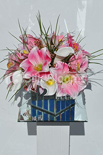 Silk-Blooms-Ltd-Artificial-Magneta-Pink-Amaryllis-Cymbidium-Orchid-and-Calla-Lily-Floral-Arrangment-wMirrored-Cube-Vase