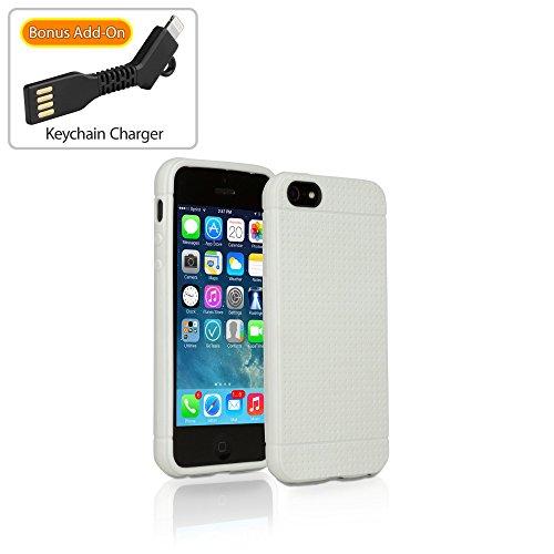Coque Iphone se, BoxWave® [Slimgrip Coque avec chargeur Porte-clés Bonus] slim, durable, antidérapant se, Coque en TPU pour Apple iPhone 5S, 5–Blanc D'Hiver