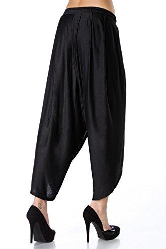 Schwarze Haremshose weit geschnitten mit Kordelzug zum Binden Damen Hose weit Schwarz sQVVOYl