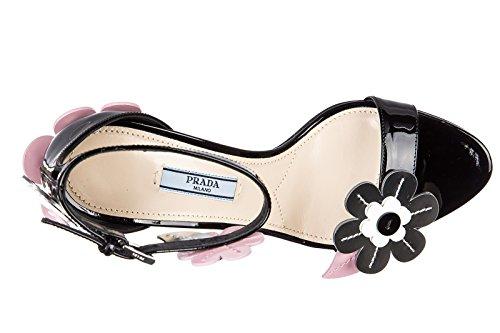 Prada sandales femme à talon en cuir lame noir