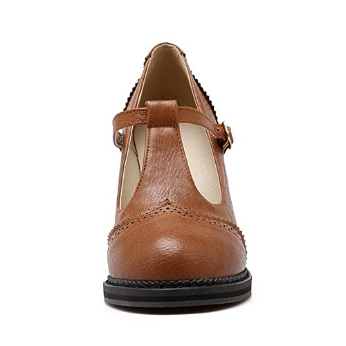 Balamasa Girls Square Bout Pointu Pompes Rondes Pompes-chaussures, Brown (brown), 38