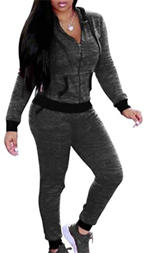 SYTX Womens Full Zip Hooded Jacket and Jogger Pant 2 Piece Tracksuit Outfits Grey XS 1980's Womens Suit