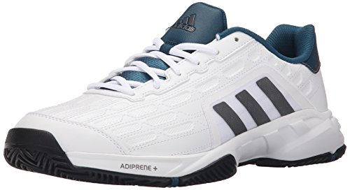 adidas Performance Men's Barricade Court 2 Wide Tennis Shoe,White/Iron Metallic Grey/Black,11.5 M US (Adidas Tennis Sneakers)