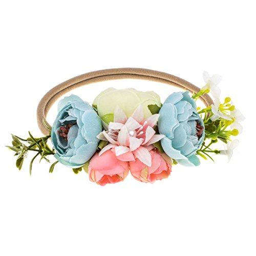 DreamLily NewBorn Baby Flower Crown Flower Baby Headband Floral Head Piece for Toddler BB13 (Blue)