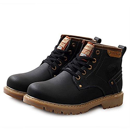 Stivali Da Uomo Primavera Estate Autunno Inverno Comfort Leather Office Carriera Casual Tacco Piatto Lace-up Nero Marrone Black