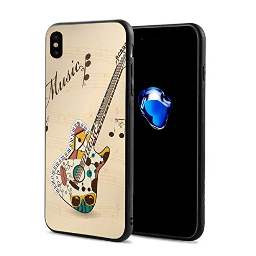 Phone Case Cover Compatible with iPhone X XS,Abstract Funky Guitar Instrument Melody Musical Notes and Hand Writing,Compatible with iPhone X/XS 5.8