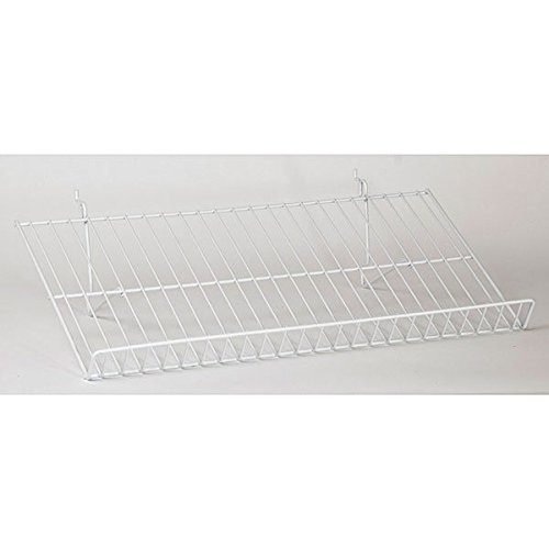 Lot of 5 New White Sloping Shelf fits Slatwall,Grid,Pegboard 23-1/2''w x 12''d