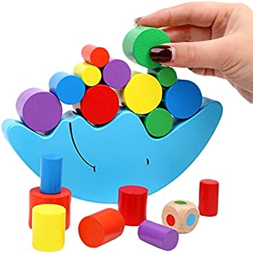 Kids Colorful Wooden Moon Balancing Blocks Children Puzzle Stacked Tower Toys