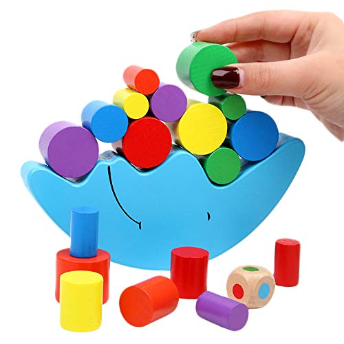Wooden Stacking Blocks Balancing Games , Moon Equilibrium Puzzles Toy , Preschool Early Educational Parent-Child…