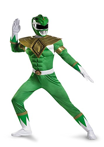 Disguise Sabans Mighty Morphin Power Rangers Green Ranger Classic Muscle Mens Adult Costume, Green/White, X-Large/42-46