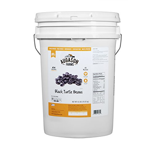 Augason Farms Black Turtle Beans Pail, 42 lb by Augason Farms