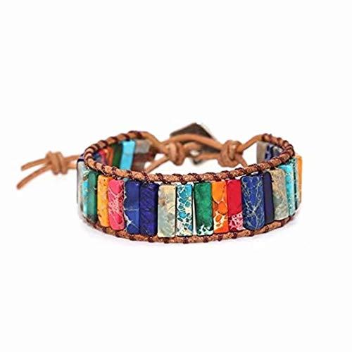 LOSOUL Leather Bracelet Men Women Leather Bracelet Linen Hemp Cords Wood Beads Cuff Bangle Leather Unisex Wristbands ()