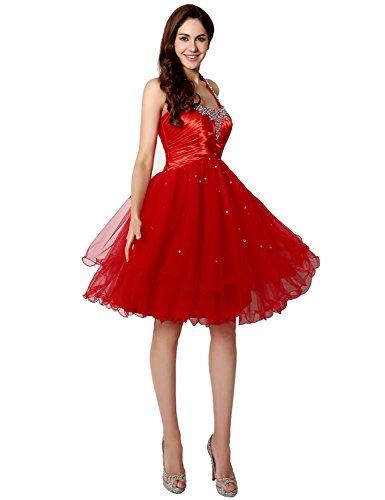 Belle Maison Robes De Mariée En Mousseline De Soie Juniors Soirée Bal Licol Robes De Bal Sd226-rouge