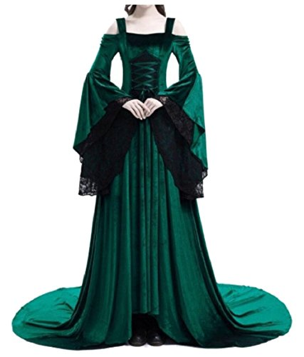 Sopra Del Onniscienti Womens Di Lunghezza Abiti Del Pavimento Medievale Verde Irlandese Rinascimentali Costumi Vestito Pizzo vqnrq7dx