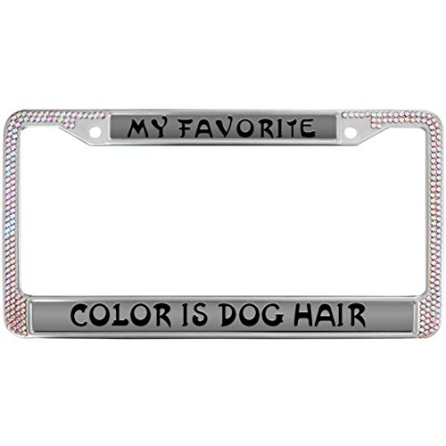 (GND Bling License Plate Frame Pink,My Favorite Color is Dog Hair Rhinestones Crystal License Frame Plate Dog Paw Prints Rhinestones Stainless Steel License Plate Frame for Standard Size US Car)