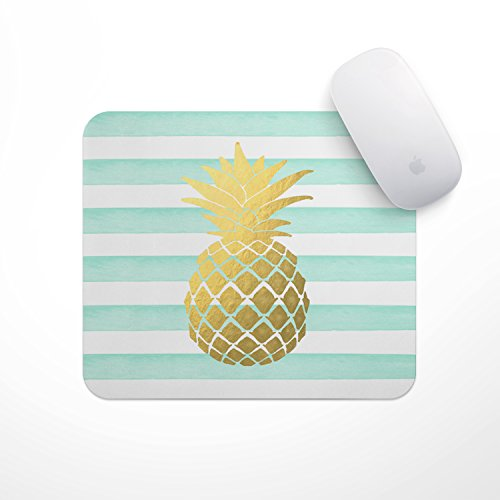 Mint Stripe Gold Metallic Pineapple - Gold Foil Pineapple Mouse Pad, Glitz Mouse Pad Mint and White Stripes Watercolor Mouse Pad Personalized Mouse Pad by The Navy Knot