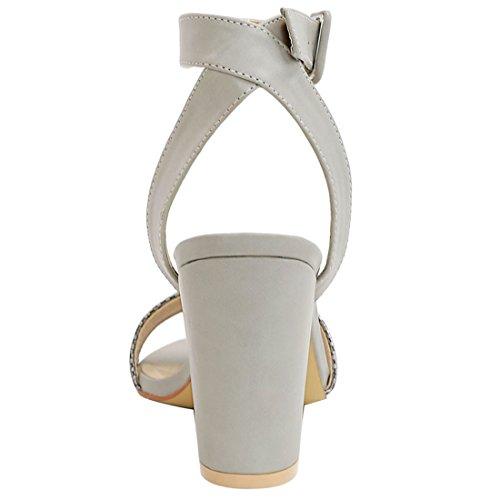 Allegra K Frau strukturierte Vamp Chunky Ferse Knöchelriemen Sandalen silber US 6