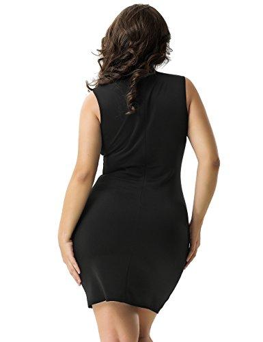 Neue Damen Plus Größe Schwarz Short Sleeve Rose Aufnäher Büro Party ...