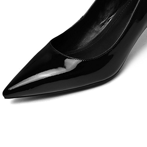 Nine Seven Cuero Puntiagudos Tacones de Aguja de Vestir para Mujer negro
