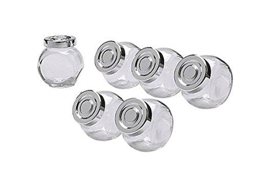 6pc - 5 oz Mini Oval Clear Glass Favor Jars -