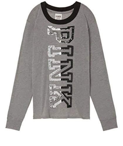 (Victoria's secret Pink New Crew-Neck Bling Ringer Campus Tee Large Gray NWT)