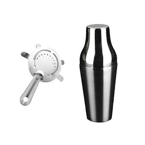 Jili Online Cocktail Shaker Gift Mixer Making Home Bar Kit Pub Accessory + Ice Strainer - Silver, 650mL by Jili Online