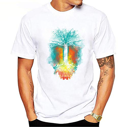 Tee T Shirt Short Sleeve Heavyweight Crew Neck Independence Day Casual Fashion Printed Blouse Top (L,1- White) -