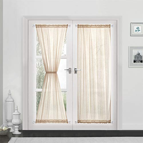 (Dreaming Casa Sheer French Door Curtains Linen Textured Two Panels Rod Pocket 72 inches Long Curtains,2 Panels, Beige,52''W x 72''L)