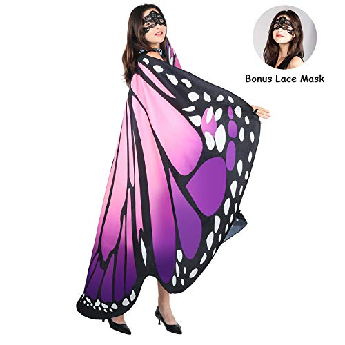 Plus Size Halloween Costumes For Less (SIPU Butterfly Wings for Women, Monarch Soft Butterfly Fabric Shawl Fairy Wings Cape Halloween Decor Costume Accessory with Lace)