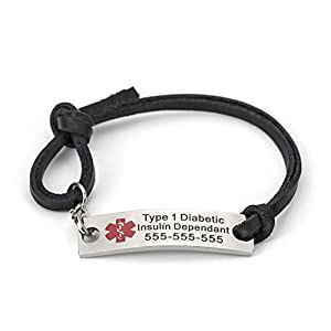 BAIYI Black Brown Leather Medical Alert ID Tag Bracelet for Men Women Adjustable Size (Free Engraving)
