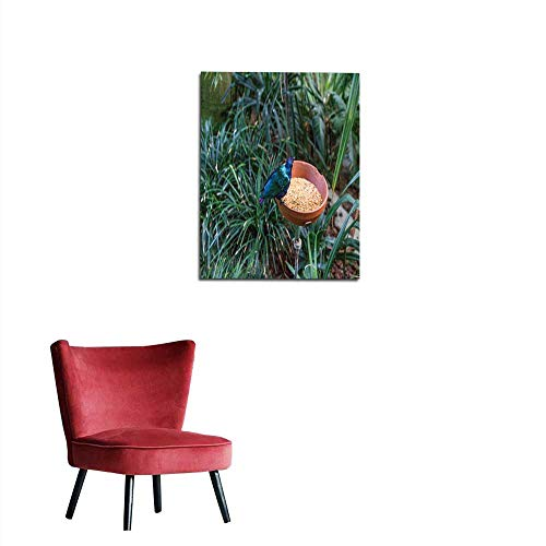 longbuyer Mural Decoration Exotic Tropical Bird Eating with Food Next to Jungle Plants and Leaves Mural 20