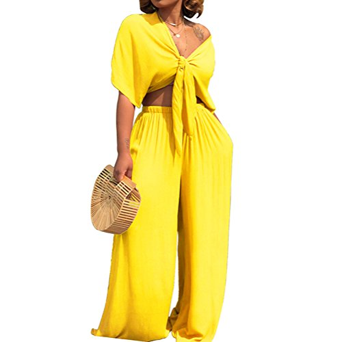 AEL Womens Sexy Tie Crop Top Wide Leg Long Pants 2 Piece Outfits Summer Short Sleeve Jumpsuits ()