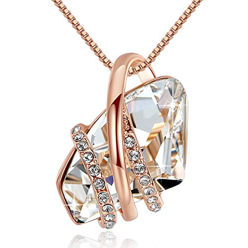 Leafael Wish Stone Pendant Necklace Made Swarovski Crystals (Clear White Rose Gold Plated Chain) Gifts Women April Birthstone Jewelry
