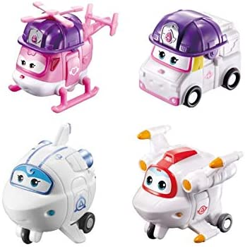 Super Wings US720040G 2 Scale Rescue Dizzy Astra and Astro Transforming Toy Figure 4 Pack Zoey