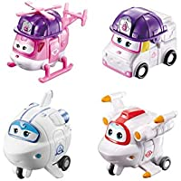 Super Wings US720040G Transforming Toy Figures, Rescue Dizzy, Zoey, Astra & Astro, 2'' Scale