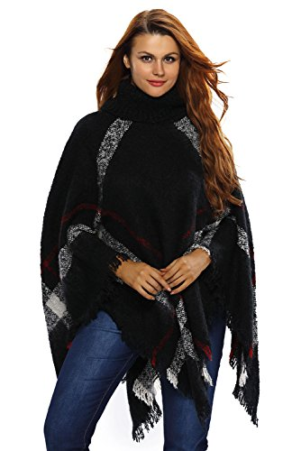 HOTAPEI Fall Long Pullover Turtleneck Poncho Sweater Women Loose Tops Black (Plus Size Poncho)