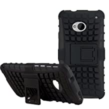 [Diablo] JKase HTC The All New One Plus (M8) / HTC One 2 Case Protective [Ultra Fit] Tough Rugged Dual Layer Protection Case Cover with Build in Stand for HTC (2014) - Retail Packaging (Black)