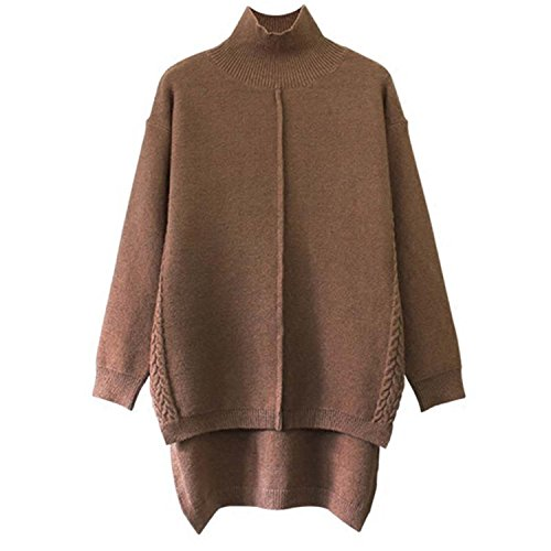 TheoJanse Women Sweater New Turtleneck Pullover Sweater Winter Solid Cashmere Sweater Autumn Female Long Sweater KhakiLarge (Autumn Cashmere Short Sleeve Sweater)