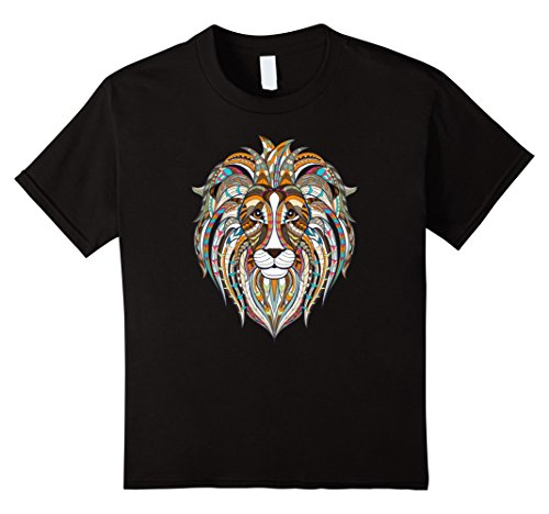 Kids Cute Unique Trendy & Modern Aztec Lion T-Shirt & Gift | CUAI 10 (Trendy Youth T-shirts)
