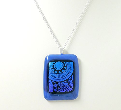 Fused Stained Glass Necklace - Sundials on Blue (Dial Jewelry Blue)