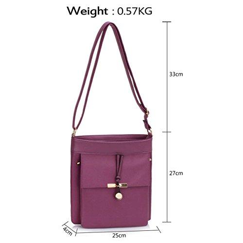 Xardi London-Custodia in pelle, stile borsetta-Borsa a spalla da donna Purple