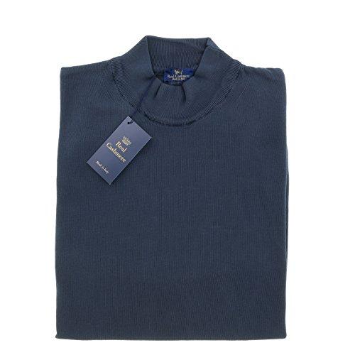 Real Cashmere Mock Neck Big Mens Navy Blue Sweater (Detailed Mock Neck Sweater)