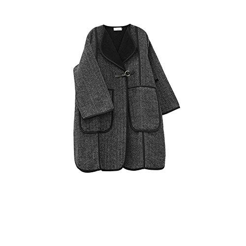 costillas de de abrigo punta la de color papel de de las suelta Negro Clip gris ondulado niñas oscuro la de gris horquilla lana tU6Fnqx