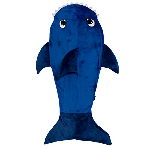 KnopMax Ultra Soft Shark Blanket for Kids– Premium Quality Features 3D Fins & Teeth – Comfortable & Warm Shark Blanket – Deep Blue Color & Plush Fabric -