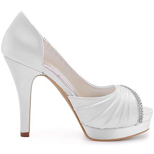 a Toe Elegantpark Alto bianco Tacco EP11064 Catena IPF Diamante Rosa Scarpe Accessorio sposa Ballo Bianco Piattaforma Open da xqvw0qr1n7