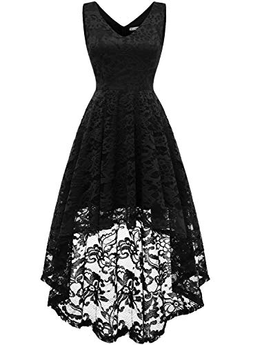 MUADRESS 6666 Women's Sleeveless Hi-Lo Lace Formal Dress Cocktail Party Dress V Neck Black Small