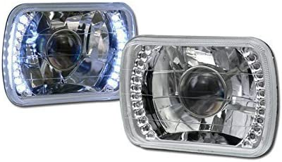 HS Power Universal 7X6 Chrome DRL White LED Sealed Beam Projector Head Lights Lamp for H6052 H6054 /& H6014