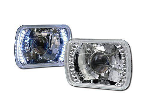 HS Power Universal 7X6 Chrome DRL White LED Sealed Beam Projector Head Lights LAMP H4 CA1 ()